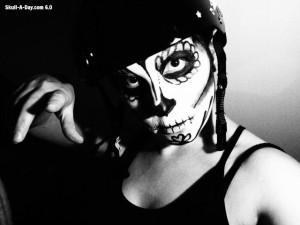 03-14-2013 - Elizabeth Anderson - roller derby skull face paint 2